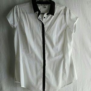 White petite stretch button down cap sleeve blouse